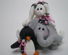 Polymer Clay Bunny Rabbit, Penguin, and Elephant / Sheep by Helen's Clay Art by HelensClayArt on Etsy