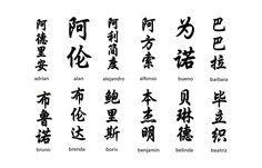 Nombres en letras chinas