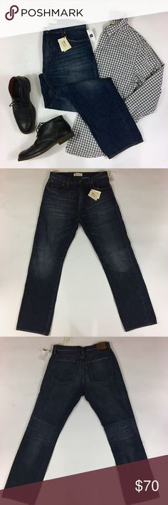 1969 Vintage Dark Wash Standard Fit Jeans Classic five pocket design straight leg jeans for him with slightly relaxed leg that sits lower at the waist. 31w/32l. 100% cotton. Brand new with tags. Stock photos to show fit. Please carefully review each photo before purchase as they are the best descriptors of the item. My price is firm. No trades. First come, first served. Thank you! :) GAP Jeans