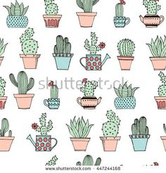 Colorful seamless pattern with cute cactus in simple hand drawn style. Cute cartoon potted cacti pattern. Decorative houseplants. Vector illustration.