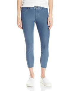 Special Offer: $25.99 amazon.com HUE essential denim capri legging offers casual jean style with comfortable stretch. Featuring contrast top stitching and brushed hardware, these cotton blend leggings provide a real jeans appearance with amazing style. Functional back pockets, faux front...