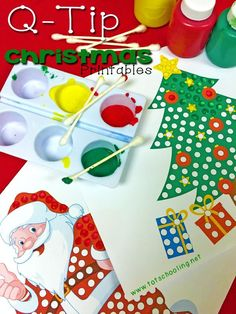 5 Free Printable Chr 5 Free Printable Christmas themed Q-Tip Painting printables for preschoolers including Santa Claus Rudolph Christmas tree and an elf! Preschool Christmas, Noel Christmas, Christmas Crafts For Kids, Christmas Themes, Holiday Crafts, Holiday Fun, Rudolph Christmas, Christmas Activities, Craft Activities