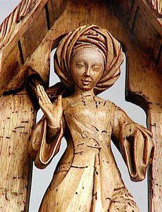 Bruxelles vers 1470 - 1480 Sage-femme dans l'étable de la Nativité surmontée des figures des bergers et des mages Fragment d'une Nativité Noyer décapé, autrefois polychromé H. : 0,56 m. ; L. : 0,42 m. ; Pr. : 0,11 m. Moda Medieval, Medieval Hats, Medieval World, Medieval Fashion, 15th Century Dress, 15th Century Clothing, Wood Nymphs, Art Sculpture, Wooden Statues