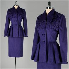 993ff185258 Vintage 1940s 2 pc Purple skirt suit with Eyelash Wool and Rhinestones.  1940s Suit
