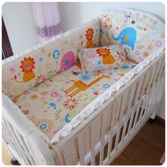 42.80$  Watch now - http://alibvr.shopchina.info/go.php?t=32338488998 - Promotion! 6PCS Baby Bedding Set 100%Cotton Set Baby Crib Bedding Set For Girl (bumpers+sheet+pillow cover)  #buyonlinewebsite