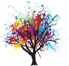 Grafiken von 'Modern abstrakten Baum mit Farbe splat Blätter oder Baldachin' on Colourbox :b