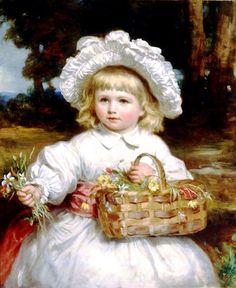Eddis, Eden Upton (b,1812)- Girl w Basket, Flowers