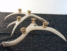 Rustic Vintage Deer Antler Candle Holder Pair Brass by Spiderbot, $50.00