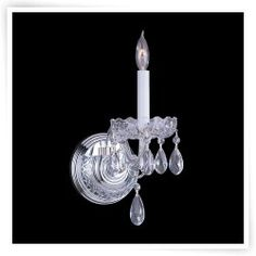 Crystorama 1031-CH-CL-SAQ Traditional Swarovski Spectra Crystal Wall Sconce - 5W in.
