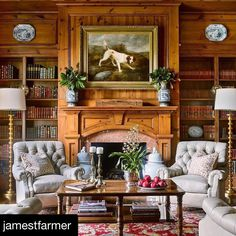 """Scrolling through Instagram and came across this beautiful room...and learned about a new show to watch too! Repost @jamestfarmer ・・・ I've needed a new British show fix after Downton and The Crown, and I'm so excited another show is about to air! """"Victoria"""" airs tonight and I love thinking about how the South leans on it's English heritage for design and stylistic choices... here I channeled my inner Lord Grantham for a study filled with British pizazz and Southern comfort. Thankful for our…"""