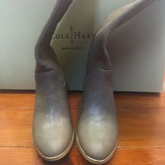 Boots Preowned in great condition, shine material  in beige/ not real leather Marco Santi Shoes Heeled Boots
