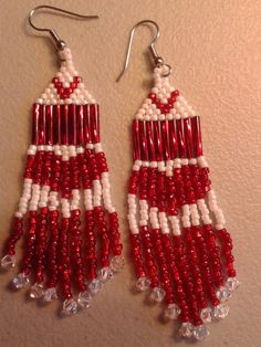 Heart Sead Bead Earrings by LeesMoonlighting on Etsy, $15.00