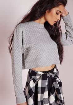 Missguided - Quilted Crop Raw Hem Sweater Grey