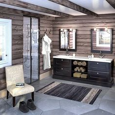 Bathroom in a Norwegian lodge Cabin Homes, Log Homes, Norway House, Cabin Bathrooms, Garage Interior, Luxury Cabin, Cabin Interiors, Lodge Decor, Cozy Cabin