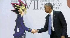 Yugi shakes hands with president Obama.