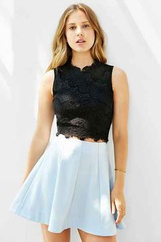 Kimchi Blue Lacey Cropped Tank Top - Urban Outfitters
