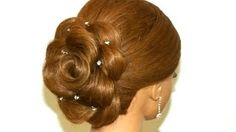 Hair made rose. Wedding hairstyle for long hair