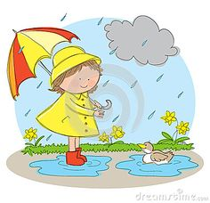 rainy day cartoon rainy season drawing cartoon rainy day  hand drawn picture spring season illustrated loose style