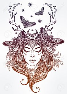 Hand gezeichnete schöne Kunstwerk von Schamanin portriat. Alchemie, religion, spiritualität, Okkultismus, Tattoo-Kunst, Färbung Bücher. Isolierten Vektor-Illustration.