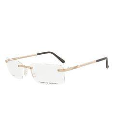 16e15190853 Porsche Light Gold Rimless Rectangular Eyeglasses
