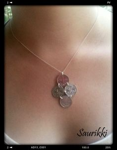 Coin necklace, old pennies and silver