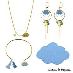 On se laisse porter par le vent avec ces nuages de beau temps ! Assortiment de bijoux ''Chambray'', ''Denim'' et ''Blanc''. A vous de jouer ! #ladroguerie #bijoux