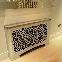 Arabic and moroccan radiator covers in galvanised metal. Bespoke modern radiator covers in arabic, islamic, persian and moroccan fretwork designs. Metal Radiator Covers, Modern Radiator Cover, Galvanized Metal, Radiators, Animal Print Rug, Moroccan, New Homes, Contemporary, Cornices