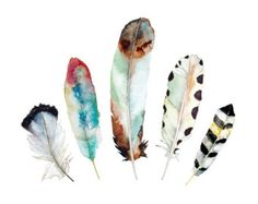 Watercolor Feather Print. Geometric Tribal by SnoogsAndWilde