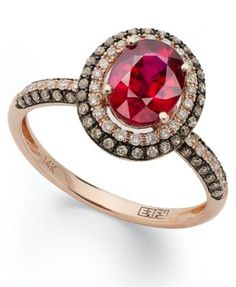 Red Velvet by EFFY Ruby (1-1/2 ct. t.w.) Brown (1/3 ct. t.w.) and White Diamond (1/5 ct. t.w.) Oval Ring in 14k Rose Gold