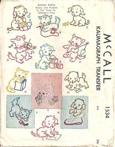 Vintage Puppy & Kitten Embroidery