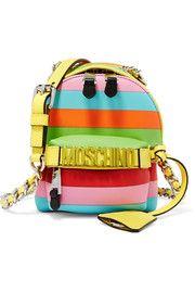 Mini embellished striped leather shoulder bag