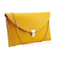 Fashion Women Handbag Shoulder Bags Envelope Clutch Crossbody Satchel Purse Leather Lady Bag (Yellow) $6.30