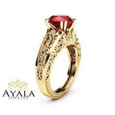 Hey, I found this really awesome Etsy listing at https://www.etsy.com/listing/291271405/unique-2-carat-ruby-ring-14k-yellow-gold