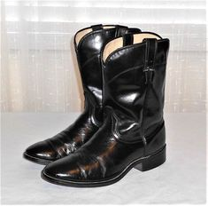 Laredo Black 7902 Roper Western Cowboy Boot Made in USA Men's Size 10 EE