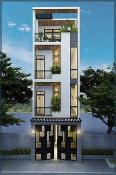 Visit the post for more. House Outer Design, Modern Small House Design, House Front Design, Minimalist House Design, Townhouse Designs, Bungalow House Design, Narrow House Designs, Model House Plan, Modern Architecture House