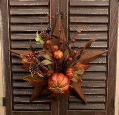 """12"""" Decorated Fall Pumpkin Rusty Star"""