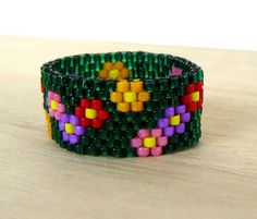 Green Beaded Ring  Multi Colored Flowers by BrownIrisCreations, #beadwork