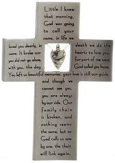 Memorial Cross Keepsake with Broken Chain Verse