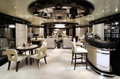 Superyacht : The metre Talisman C, with art deco inspired interiors. Luxury Yacht Interior, Boat Interior, Luxury Yachts, Luxury Homes, Interior Design Institute, Best Interior Design, Yacht Design, Kitchen Living, Interior Architecture