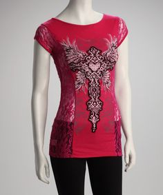 Take a look at this Hot Pink Lace Top - Women by Bus Stop on #zulily today!