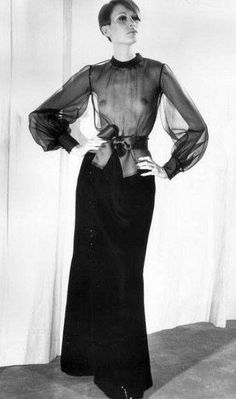 Danielle Sauvajeon in a velvet skirt & a long-sleeved sheer 'cigaline' top by YSL, FW 1968, 1969