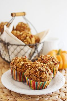 Super Soft 100% Whole Wheat Apple-Pumpkin Muffins