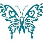Butterfly Ovarian Cancer Ribbon Black