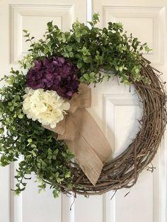 FALL HYDRANGEA WREATH Burlap Wreath Spring Wreath Summer