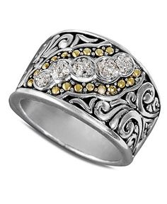 Balissima by Effy Collection Diamond 18k Gold and Sterling Silver Diamond Swirl Ring (1/10 ct. t.w.) - Diamonds - Jewelry & Watches - Macy's...