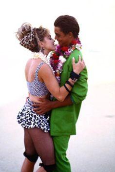 80s Madonna in a leopard print bikini.