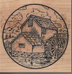 Neat and Old Antique Mill Building Stamp On Sale Now !!! Mountains, Nature, and Farming  make a great impression on a friend make them a card or scrapbook page with this darling stamp!! Click above to see my ebay items I have more stamps and crafting items available if your interested and thanks so much for looking!!!