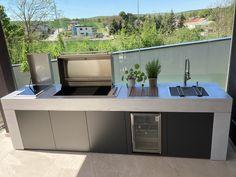 Modern Outdoor Kitchen, Patio Kitchen, Modern Patio, Outdoor Living, Barbecue Garden, Outdoor Barbeque, Patio Grill, Bbq Area, Swimming Pools Backyard