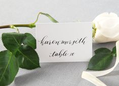 Custom Wedding Calligraphy Escort Card/Table Tent/Place Card; Handwritten Name Cards for Weddings, Baby Shower and Events