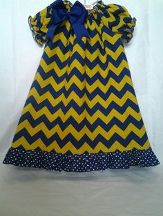 d54094aea Items similar to Blue and Gold Gameday Chevron peasant dress for babies and  girls on Etsy